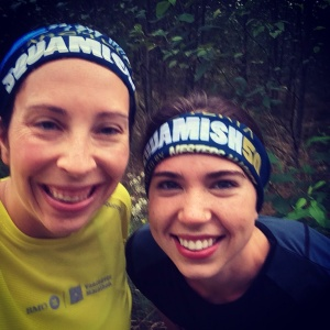 The lovely Candice Ridyard, out for a pre-race shakeout with our fancy new buffs ;)