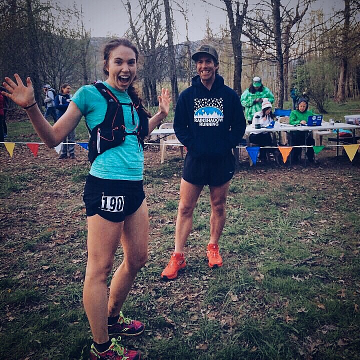 Apparently jazz hands were de rigeur? Super ecstatic to be done, chatting with RD James Varner at the finish. Photo credit to Tory Scholtz